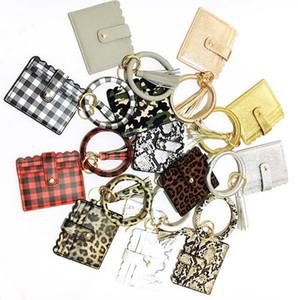 Armband Keychain Mappen-Leopard-Schlange PU-Leder-Troddel-Frauen-Karten-Beutel-Frauen-Hand Wristlet Keyring Neuheit-Einzelteile 20pcs OOA8090