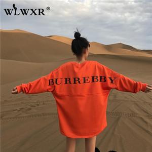 WLWXR Herbst Maxi-Hoodie Kleid Sweatshirt Frauen Top-Buchstabe-Druck-lose lange Hoodie Winter-Damen Pullover weiblich T191217
