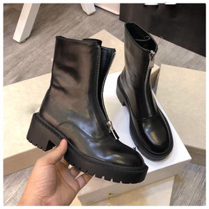 Hot Sale-Autumn Winter Real Leather Martin Boots Engaland Style Thick Bottom Comfortable Flat Ankle Front zipper High Top Flat Knight Boots