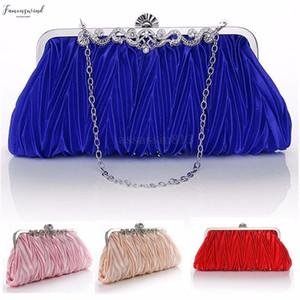 Elegent Women Satin Plain Crystal Clutch Party Wedding Purse Evening Bag Handbag