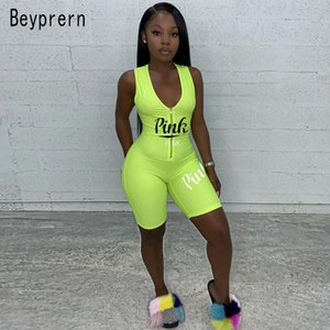 Beyprern 신축성이 있는 유니 타드 Fluro 그린 돌아 다니는 여자의 편지를 인쇄한 지퍼 자전거 타는 죄수복 운동 Playsuit Active Wear