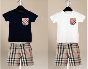 Оптовые и розничные комплекты мальчиков Baby kids 2 шт. Наборы плед карман с короткими рукавами рубашки + плед шорты детская одежда наборы 2 цвета