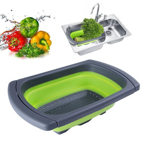 Silikon zusammenklappbare über das Waschbecken Retractable Seiher mit Griff Küche Folding Sieb Schüsseln Wasser ablassen Filterkorb