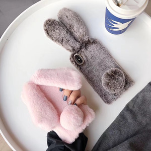 Luxury Lovely Bunny Rabbit Fur Hair Plush Fuzzy Fluffy Soft Back Big Ear Case for IPhone 11 Pro Max X XS MAX XR 7 6 6s Plus Cell Phone Cover