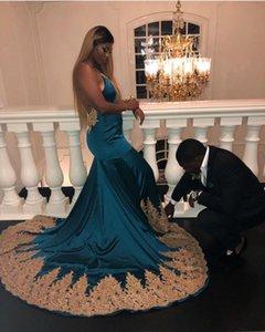 Sexy Turquoise Спагетти платье выпускного вечер 2020 плюс размер открытой спина Вечерние платья Африканские Золотые аппликации Формальные Бальные платья BC4001