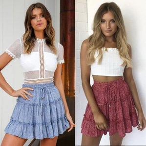 20s Frauen druckte Röcke Mode Sommer-heiße Verkaufs Kurze Kleider Casual Women Street Festliche Kleider 9 Farben Größe S-2XL