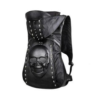 Moda 3D Cranio Zaino in pelle Personalità Rivetti Zaino teschio con cappuccio Cappuccio Borsa per abbigliamento Borse a tracolla Hiphop Uomo