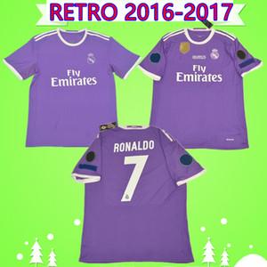 2016 2017 로날도 레알 마드리드 축구 유니폼 보라색 레트로 벤제마 축구 셔츠 16 17 JAMES 빈티지 Camiseta 드 푸 웃 PEPE 세르히오 라모스