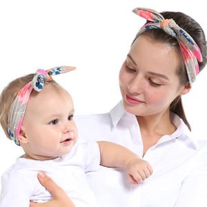 Anne Kız Eş Bow Tie Bantlar Ebeveyn-çocuk Saç Bandı sarar Tavşan Kulakları Kafa Bronzlaştırıcı Dot Ekose Izgara Gömme Saç Aksesuarları yeni D3509