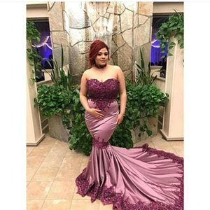 Stunning Prom Dresses 2K17 Plus Size Sweetheart Mermaid Evening Dresses Lace Applique Long Sweep African Bride Party Dresses Robes De Soirée