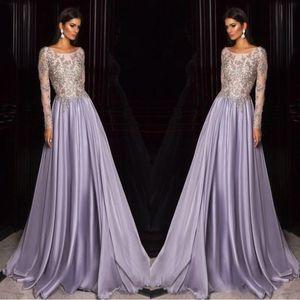 Lavender Dubai Arabic Kaftan Manga Larga Vestidos de baile Bordados de oro Sheer Neck Celebrity Dress vestidos personalizados