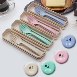 4 estilo 1set = 3pcs cuchara tenedor palillos paja vajilla viajes de mini niños encantadores de vajilla Establece DinnerwareT2I5159 portátiles