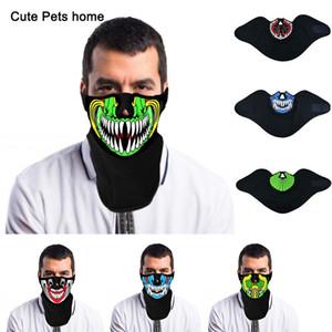 Filo di moda LED di Halloween Pasqua Rave Mask Maschere Costume Luminescence Maschere Cold Light Casco Fire Dance a comando vocale