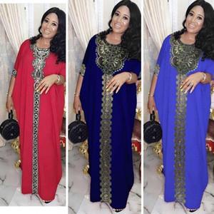 Африканские платья для женщин Африка Одежда AFrican Design Bazin Шифон Длинная палочка с бриллиантом SLeeve Dashiki Dress Lady