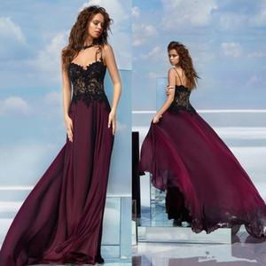 Setwell A Line Lace Prom Dress Spaghetti Chiffon Backless Vestidos de noche formales Vestido de ocasión especial simple y barato