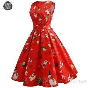 Vintage mujer Vestidos Oficina de Navidad rojo trabajo vestido sin mangas de cuello de O Hepburn Swing Party Dress Plus ropa casual Tamaño de diseño