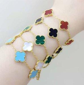 Queen Lotus 2019-Qualitäts-neue 18k Gold überzogene bunt Shell vierblättriges Kleeblatt-Blumen-Frauen-Charme-Armband für Geschenk