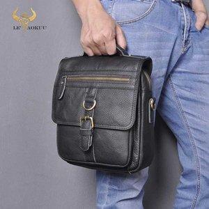 "Quality Real Leather Male Casual Shoulder Messenger bag Travel Fashion Cross-body Bag 8"" Pad Tote Mochila Satchel 039"