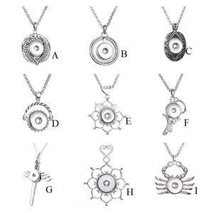 9 Styles Noosa assortis Ginger 18mm Pressions Chunk Charms Vintage multi Pendentif Colliers bijoux de la chaîne en acier inoxydable