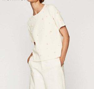 O-Neck Neue Sommerperlen Perlen T-Shirt Frauen Baumwolle Lose Beiläufige Black Tops Frauen Kurzarm O -Neck T Shirt High Quality Trend