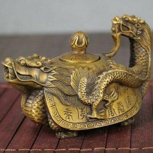 العتيقة مجموعة الصينية اليدوية أوراكل البرونز التنين التنين السلحفاة ابريق الشاي