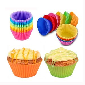 High Quality Colorful Round Shape Silicone Muffin Cupcake Mould Case Bakeware Maker Mold Tray Baking Cups Liner Baking Molds