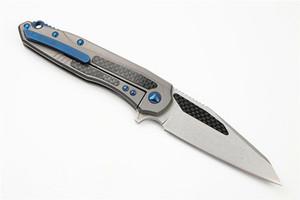 New Arrival Ball Bearing Flipper Folding Knife M390 Stone Wash Blade TC4 Titanium Alloy + Carbon Fiber Handle EDC Knives