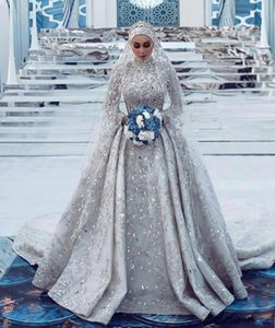 2020 vestido de novia de lujo Arabia árabe una línea de cuello alto vestidos de novia musulmanes brillante de manga larga de lentejuelas con cuentas de cristal del tamaño extra grande