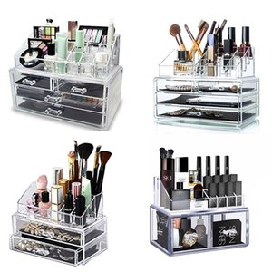 Trucco dell'organizzatore Cosmetic Storage Box Scatola di plastica trasparente Organizzatore acrilico desktop Jewelry Bagno multifunzionale T200320