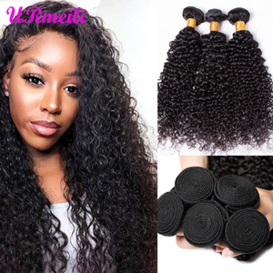 Afro Kinky Curly Virgin Cabelo 8-32inch Para Africano 3/4 pc Natural Color brasileira Weave Cabelo Pacotes Curly cabelo humano de Remy