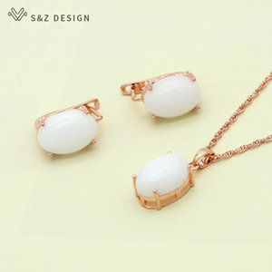 ewelry Sets S&Z DESIGN Korean Fashion Oval Egg Shape Natural Stone Stud Earrings 585 Rose Gold Pendant Necklace Jewelry Sets Gifts for Wo...