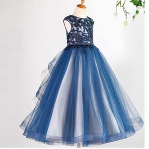 Navy Blue Flower Girl Dresses Cute Lace Beaded Tulle Formal Long Special Occasion Pageant Gowns For Wedding Girls Dress 2020
