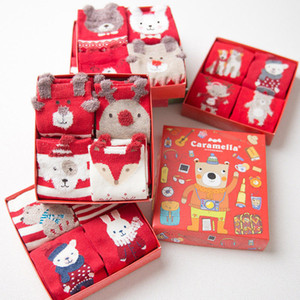 4 pares Gift Box Feliz Natal presente unisex crianças inverno quente Socks rena de Papai Noel boneco de neve bonito Roupa doces baratos