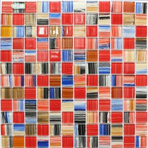 Kristal gökkuşağı mavi siyah bej sarı turuncu cam mozaik duvar karosu JMFGT098 mutfak backsplash fayans banyo cam mozaik kırmızı
