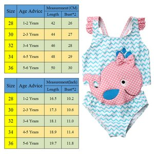 2020 Brand New Toddler Kids Baby Girl 3D Whale Swimwear One -Piece Cartoon Swimsuit Beachwear Bathing Suit Swimming Clothes 1-6T