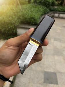 High End Pequeno Japão Samurai Espada VG10 Damasco Aço Tanto Lâmina Lidar Com Ébano Mini Collectalble Faca Facas de Presente