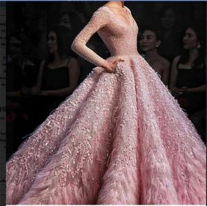 Abito da sera Ziad nudo Abito lungo Manica lunga Rosa Feather Ball gown Fiore Yousef aljasmi Crystals Party Dresses 0058