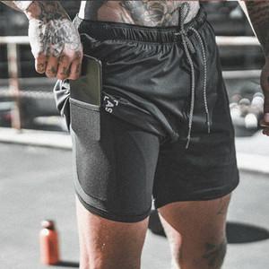 2019 neue Ankunft Sommer Doppeldeck Sport Gym Fitness Bodybuilding Atmungsaktiv Schnell Trocknend Männer Jogger Shorts C19042301