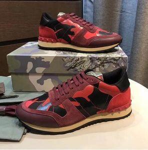 [Original Box] Fashion Rock Runner Sneaker Camouflage Leder Freizeit verzierte Männer Sport Perfect Rock Runner Outdoor-Männer-Trainer