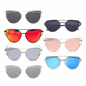 Outdoor Sun Glasses Reflective UV Protecting Sunscreen Lenses Ladies Cateye Sunglasses Metal Drop Shipping