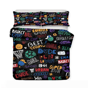 Basketball 3pcs Luxury Bedding Set Duvet Bed Cover Set King Size Kids Room Back to School Duvet Cover Pillowcase Sets Christmas Gift