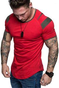 Designer maglietta casuale girocollo Slim Mens Tees 2020 Moda Panelled Tees estate Mens