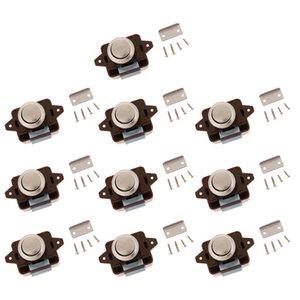 Keyless Push Button Cabinet Chiusura per RV Camper - lega di zinco Armadio Caravan Lock - Confezione da 10, Brown