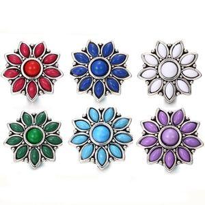 lotto misto Snap Jewelry 18 millimetri Snap Pulsanti Pulsante monili della collana di 10pcs / strass Fiore metallo Snap Fit