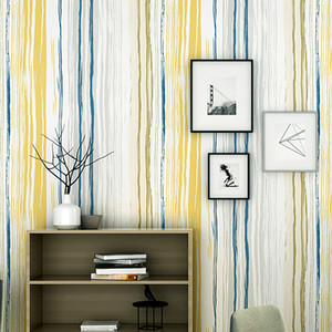 Moderne Concised Nordic Europa-vertikale Streifen Tapete Rolle Gelb Blau Personalisierte Stripped Wall Background Wallpaper Mural