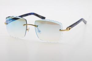 2020 Usine de vente en gros Rimless optique 3.524.012-A marbre bleu original Plank Lunettes de soleil de haute qualité Sculpté verre unisexe lense