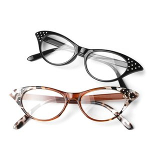Convenient Cat Eye Women Reading Glasses Resin Crystal Rhinestone Decoration 2016 Gift for Elder