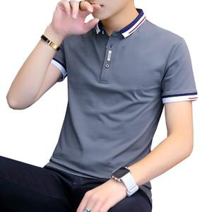 BROWON 2020 Новое прибытие лето футболки мужчин с коротким рукавом Slim Fit Tshirts отложной воротник Tee Shirt Homme CX200707