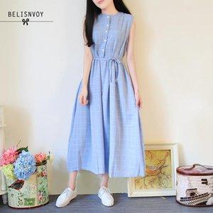 Donne senza maniche Mori estate della ragazza vestito lungo Cotone Lino Tank Dress Blu Grigio Plaid Cotone Lino Sundress Vestidos Mujer