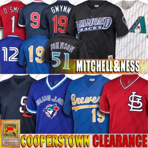 Tony Gwynn Clearance Robin Yount Jersey Randy Johnson Ozzie Smith Maillots Roberto Alomar Ted Williams pas cher Throwback Baseball Jersey